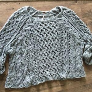 Free People Open Weave Scoop Neck Green Sweater M